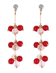 cheap -Women's Drop Earrings Long Ladies Ethnic Sweet Fashion Rhinestone Earrings Jewelry White / Black / Red For Party / Evening Birthday 1 Pair