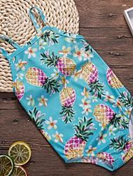 abordables -Enfants Fille Basique Sports Fruit Dos Nu Lacet Imprimé Sans Manches Coton Maillot de Bain Bleu clair