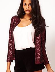 cheap -Women's Color Block Sequins Basic Fall Jacket Short Daily Long Sleeve Acrylic Coat Tops Black