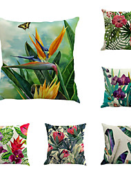 cheap -6 pcs Linen Pillow Cover, Botanical Floral Print Rustic Holiday Throw Pillow