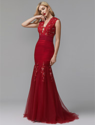 cheap -Mermaid / Trumpet Elegant Floral Open Back Formal Evening Black Tie Gala Dress Plunging Neck Sleeveless Sweep / Brush Train Tulle Beaded Lace with Ruched Appliques 2021