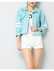 cheap -Women's Daily Basic Regular Denim Jacket, Solid Colored Round Neck Short Sleeve Cotton / Linen / Acrylic Pleated Yellow / Light Blue / Lavender S / M / L