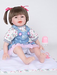 cheap -FeelWind Reborn Doll Girl Doll Baby Girl 22 inch lifelike Hand Made Child Safe Non Toxic Parent-Child Interaction Hand Rooted Mohair Kid's Girls' Toy Gift / Natural Skin Tone