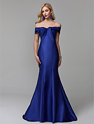cheap -Mermaid / Trumpet Off Shoulder Sweep / Brush Train Satin Elegant / Blue Prom / Formal Evening Dress with Ruffles 2020