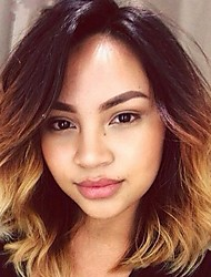 cheap -Remy Human Hair Lace Front Wig Bob Short Bob Ciara style Brazilian Hair Wavy Blonde Wig 130% Density with Baby Hair Ombre Hair Dark Roots Natural Hairline 100% Virgin Women's Short Human Hair Lace