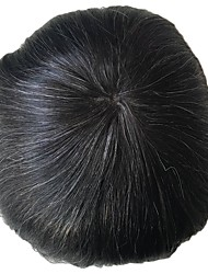 cheap -PANSY Grey Toupee Men Hairpiece French Lace Human Hair Replacement Wig Toupee Natural Looking 8x10 inch jet black Mix 20% grey hair