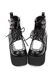 cheap -Women's Lolita Shoes Boots Punk Lolita Gothic Creepers Shoes Color Block 8 cm Black PU(Polyurethane) Halloween Costumes