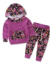 cheap -Baby Girls' Casual / Active Daily / Holiday Print Print Long Sleeve Long Long Clothing Set Purple