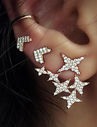 cheap -Women's Stud Earrings Clip on Earring Jacket Earrings Star Statement Ladies Vintage Fashion Earrings Jewelry Gold For Party / Evening Bar 3pcs