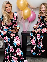 cheap -Kids Mommy and Me Basic Sweet Party Holiday Floral Color Block Print Half Sleeve Maxi Maxi Dress Black