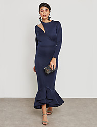 cheap -Women's Plus Size Party / Work Street chic / Sophisticated Maxi Slim Bodycon / Sheath / Trumpet / Mermaid Dress - Solid Colored Ruffle / Pleated High Waist Crew Neck Summer Pink Navy Blue XL XXL XXXL