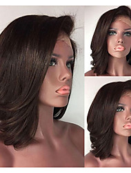 cheap -Synthetic Wig Synthetic Lace Front Wig Straight Short Bob Lace Front Wig Short Dark Brown Synthetic Hair Women's Adjustable Heat Resistant Women Dark Brown Modernfairy Hair / Natural Hairline