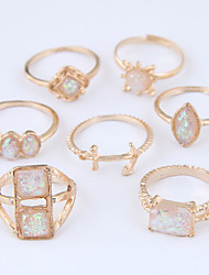cheap -Women's Ring Set Midi Rings Stackable Rings 7pcs Gold Alloy Square Geometric Ladies Unusual Unique Design Causal Jewelry Hollow Anchor