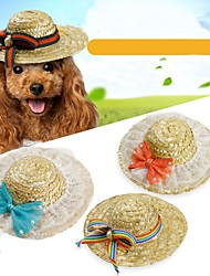 cheap -Pets Hoodie Hats, Caps & Bandanas Bandanas & Hats Dog Clothes Black Green Red Costume Linen&Cotton Blend Straw Rope British Bowknot Floral Botanical Classic Headpieces S M L