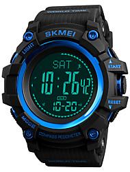 Недорогие -SKMEI Муж. Спортивные часы Армейские часы электронные часы Японский Цифровой Стеганная ПУ кожа Черный / Зеленый 50 m Защита от влаги Будильник Секундомер Цифровой На каждый день Мода -  / Один год