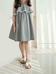 cheap -Kids Girls' Sweet Weekend Check Sleeveless Knee-length Dress Black