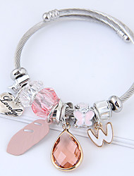 cheap -Women's Charm Bracelet Heart Feather European Fashion Alloy Bracelet Jewelry Gray / Pink For Daily