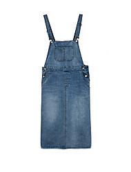 cheap -Women's Light Blue Dress Going out Denim Strap S M