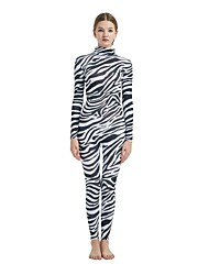 cheap -Patterned Zentai Suits Cosplay Costume Catsuit Zebra Adults' Spandex Lycra Cosplay Costumes Sex Men's Women's Black Animal Fur Pattern Zebra Halloween Carnival New Year / Skin Suit / High Elasticity