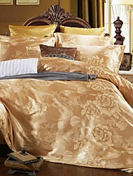 cheap -Duvet Cover Sets Luxury Silk / Cotton Blend Jacquard 4 PieceBedding Sets / 4pcs (1 Duvet Cover, 1 Flat Sheet, 2 Shams)