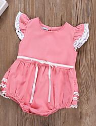abordables -bébé Fille Actif Couleur Pleine Manches courtes Le maillot de corps Blanc