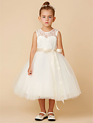 cheap -Princess Tea Length Wedding / First Communion Flower Girl Dresses - Lace / Tulle Sleeveless Jewel Neck with Sash / Ribbon / Bow(s)