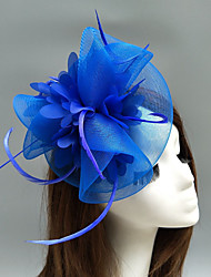cheap -Feather / Net Fascinators / Hats / Headdress with Feather / Floral / Flower 1pc Wedding / Special Occasion / Horse Race Headpiece