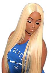 cheap -Virgin Human Hair Full Lace Wig Gaga style Brazilian Hair Straight Blonde Wig 150% Density with Baby Hair Natural Hairline Women's Medium Length Long Very Long Human Hair Lace Wig Premierwigs