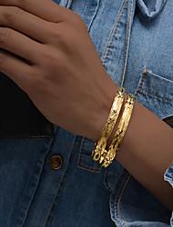 cheap -2pcs Women's Bracelet Bangles Cuff Bracelet Sculpture Ladies Ethnic Italian Gold Plated Bracelet Jewelry Gold For Party Gift