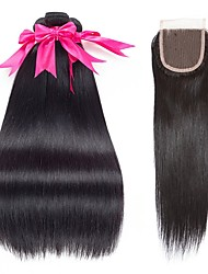 abordables -3 paquets avec fermeture Cheveux Brésiliens Droit Cheveux Naturel humain Tissages de cheveux humains Extension Trame cheveux avec fermeture 8-22 pouce Noir Couleur naturelle Tissages de cheveux / 8A