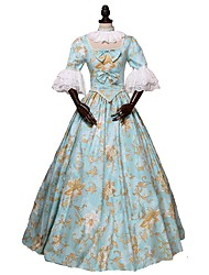 cheap -Princess Lolita Victorian Costume Women's Outfits Party Costume Masquerade Print Vintage Cosplay Pure Cotton 3/4-Length Sleeve Puff Sleeve Ball Gown
