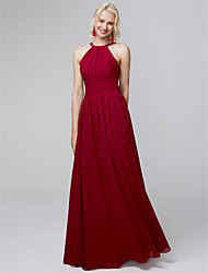 cheap -A-Line Halter Neck Floor Length Chiffon Bridesmaid Dress with Side Draping / Ruffles / Open Back