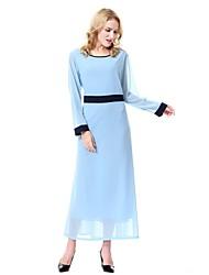 cheap -Women's Midi Maternity Blue Lavender Dress Vintage Sophisticated Spring Daily Work Chiffon Abaya Jalabiya Solid Colored M L
