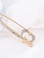 cheap -Women's Cubic Zirconia Brooches Sculpture Heart Ladies Classic Fashion Brooch Jewelry Gold For Daily