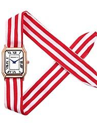 cheap -REBIRTH Women's Wrist Watch Square Watch Quartz Black / White / Red Chronograph Cute Creative Analog Ladies Bangle Elegant - Gold / Black White / Red Gold / Red One Year Battery Life