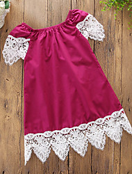cheap -Toddler Girls' Simple Casual Daily Going out Solid Colored Patchwork Lace Patchwork Sleeveless Dress Wine / Cotton