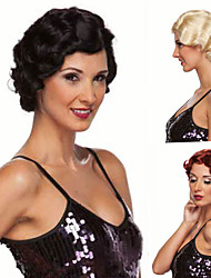 cheap -Synthetic Wig Curly Side Part Synthetic Hair Classic / Synthetic Red / Black Wig Women's Short Machine Made