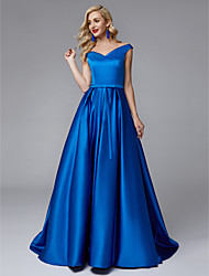cheap -Ball Gown V Neck Sweep / Brush Train Satin Bridesmaid Dress with Sash / Ribbon / Pleats