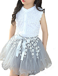 cheap -Kids Girls' Lace Daily White Patchwork Sleeveless Regular Clothing Set White