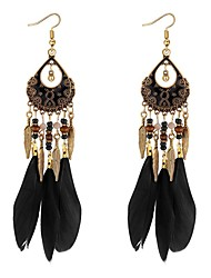 cheap -Women's Drop Earrings Long Feather Ladies Vintage Ethnic Fashion African Feather Earrings Jewelry Rainbow / Red / Blue For Party / Evening Prom Promise 1 Pair