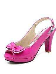 cheap -Women's Sandals Chunky Heel Peep Toe Bowknot PU Slingback Summer Black / White / Fuchsia