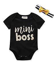 cheap -2pcs Baby Boys' Active / Basic Daily / Holiday Print Printing Short Sleeves Bodysuit Black / Toddler