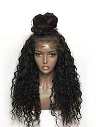 cheap -Synthetic Lace Front Wig Curly Layered Haircut Lace Front Wig Long Natural Black Synthetic Hair Women's Natural Hairline Black