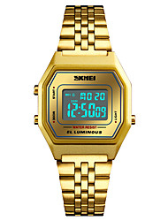 cheap -SKMEI Men's Sport Watch Military Watch Japanese Digital 30 m Water Resistant / Water Proof Alarm Calendar / date / day Stainless Steel Band Digital Casual Fashion Black / Silver / Gold - Golden Rose