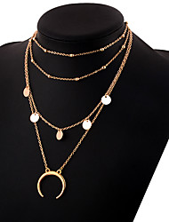 cheap -Women's Layered Necklace Layered Moon Crescent Moon double horn Ladies Simple Elegant Alloy Gold Silver 30 cm Necklace Jewelry 1pc For Daily