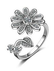 cheap -Women's Ring wrap ring Micro Pave Ring 1pc Silver Copper Ladies Stylish Classic Wedding Daily Jewelry 3D Flower