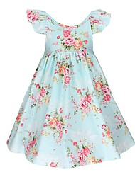 cheap -Kids Girls' Active / Boho Daily / Going out Floral Print Short Sleeve Knee-length Cotton / Acrylic Dress Blue 2-3 Years(100cm)