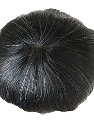 cheap -PANSY Grey Toupee Men Hairpiece French Lace Human Hair Replacement Wig Toupee Natural Looking 8x10 (natural color Mix 20% grey hair)