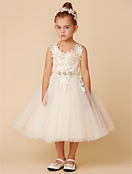 cheap -Princess Knee Length Wedding / First Communion Flower Girl Dresses - Lace / Tulle Sleeveless Spaghetti Strap with Crystal / Lace / Sashes / Ribbons
