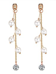 cheap -Women's Cubic Zirconia Drop Earrings Long Ladies Stylish Imitation Pearl Earrings Jewelry White / Black For Party / Evening Going out 1 Pair